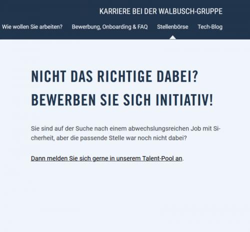 Initiativbewerbung Walbusch-Gruppe